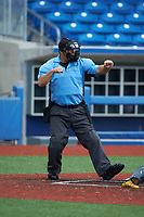 Home plate umpire Brett Stowe calls a batter out on strikes during the Atlantic Coast Prospect Showcase hosted by Perfect Game at Truist Point on August 23, 2020 in High Point, NC. (Brian Westerholt/Four Seam Images)