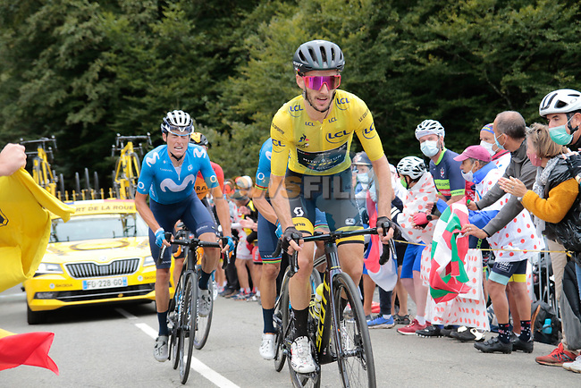 Yellow Jersey Adam Yates (GBR) Mitchelton-Scott climbs Col de Marie Blanque during Stage 9 of Tour de France 2020, running 153km from Pau to Laruns, France. 6th September 2020. <br /> Picture: Colin Flockton | Cyclefile<br /> All photos usage must carry mandatory copyright credit (© Cyclefile | Colin Flockton)