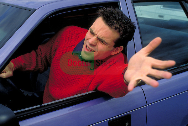 man exhibiting road rage