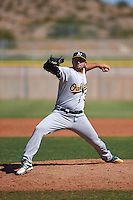 Oakland Athletics pitcher Mike Fagan (39) during an instructional league game against the Los Angeles Angels on October 9, 2015 at the Tempe Diablo Stadium Complex in Tempe, Arizona.  (Mike Janes/Four Seam Images)