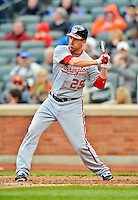11 April 2012: Washington Nationals first baseman Adam LaRoche in action against the New York Mets at Citi Field in Flushing, New York. The Nationals shut out the Mets 4-0 to take the rubber match of their 3-game series. Mandatory Credit: Ed Wolfstein Photo