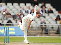 5th July 2021; Emirates Old Trafford, Manchester, Lancashire, England; County Championship Cricket, Lancashire versus Kent, Day 2; Matt Milnes of Kent bowls during his opening spell