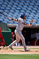 Fort Myers Miracle second baseman Travis Blankenhorn (7) follows through on a swing during a game against the Clearwater Threshers on April 25, 2018 at Spectrum Field in Clearwater, Florida.  Clearwater defeated Fort Myers 9-5.  (Mike Janes/Four Seam Images)