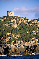 Europe/France/Corse/2A/Corse-du-Sud/Env de Propriano: La côte rocheuse à la pointe de Campomoro et sa tour gênoise