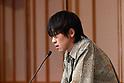 Akutagawa award winner Shinsuke Numata attends a press conference