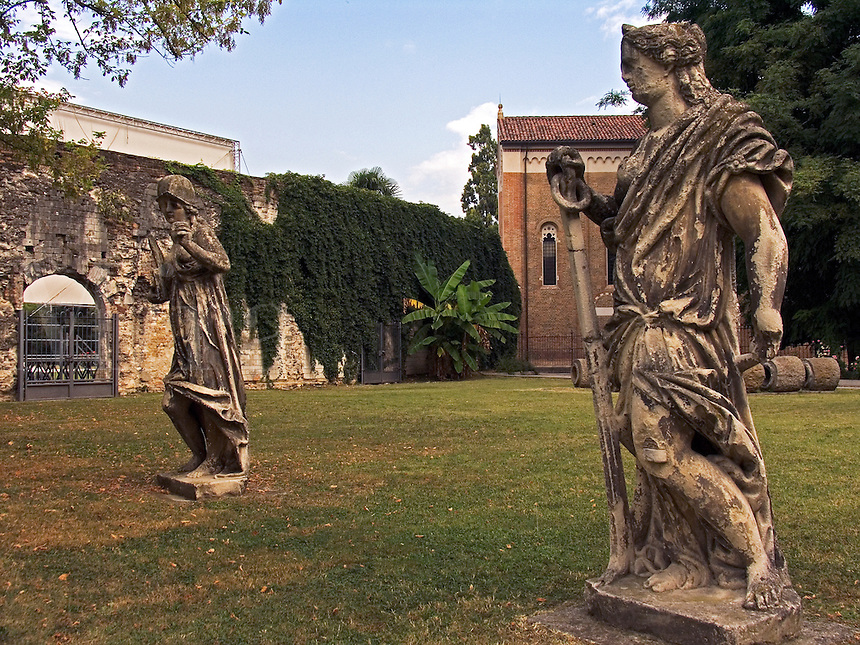 Statues on grounds of Cappella degli Scrovegni park in Padua, Ital