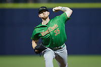 Down East Wood Ducks relief pitcher Josh Smith (35) in action against the Kannapolis Cannon Ballers at Atrium Health Ballpark on May 5, 2021 in Kannapolis, North Carolina. (Brian Westerholt/Four Seam Images)