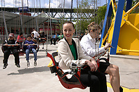 Montreal (Qc) CANADA - May   2012 File Photo - <br /> actress Karine Vanasse unveil VOL ULTIME,  the the attraction at La Ronde amusement park on Ile Sainte-Helene