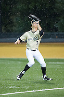 Wake Forest Demon Deacons right fielder Nick DiPonzio (7) tracks a fly ball during the game against the Davidson Wildcats at David F. Couch Ballpark on February 28, 2017 in Winston-Salem, North Carolina.  The Demon Deacons defeated the Wildcats 13-5.  (Brian Westerholt/Four Seam Images)