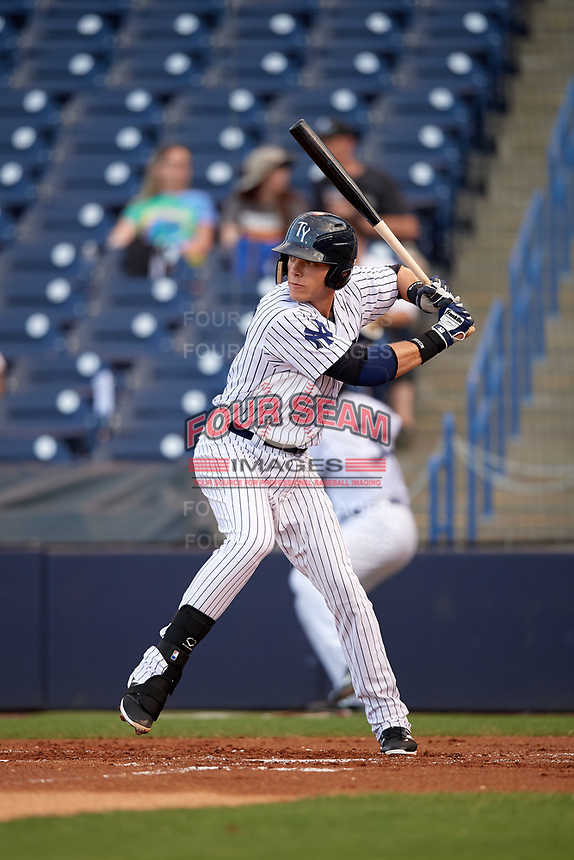 Tampa Yankees first baseman Matt Snyder (29) at bat during a game against the Fort Myers Miracle on April 12, 2017 at George M. Steinbrenner Field in Tampa, Florida.  Tampa defeated Fort Myers 3-2.  (Mike Janes/Four Seam Images)