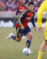 Real Salt Lake Defender Tony Beltran (2) in the Real Salt Lake 1-0 win over Columbus Crew in Game 1 of the Semi-Finals of the MLS Playoffs on October 31, 2009 at  Rio Tinto Stadium in Sandy, Utah