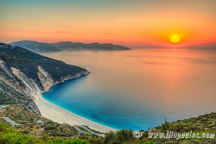 The sunset at the famous beach Myrtos in Kefalonia island, Greece