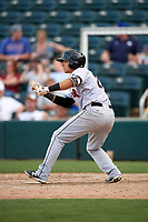 Jupiter Hammerheads shortstop J.J. Gould (20) squares around to bunt during a game against the Fort Myers Miracle on April 9, 2017 at CenturyLink Sports Complex in Fort Myers, Florida.  Jupiter defeated Fort Myers 3-2.  (Mike Janes/Four Seam Images)