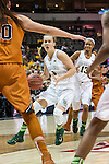 guard Kristy Wallace (4) drives it in during Big 12 women's basketball championship final, Sunday, March 08, 2015 in Dallas, Tex. (Dan Wozniak/TFV Media via AP Images)