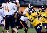 November 12th, 2011:  Mustafa Jalil of California tries to get Oregon State's Sean Mannion during a game at AT&T Park in San Francisco, Ca  -  California defeated Oregon State  23 - 6