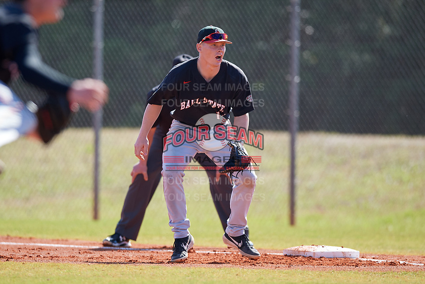 Ball State Cardinals first baseman Griffin Hulecki (13) during a game against the Saint Joseph's Hawks on March 9, 2019 at North Charlotte Regional Park in Port Charlotte, Florida.  Ball State defeated Saint Joseph's 7-5.  (Mike Janes/Four Seam Images)
