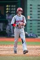 Nick Campana (14) of the Hartford Hawks walks back to the dugout after striking out against the Virginia Cavaliers at The Ripken Experience on February 27, 2015 in Myrtle Beach, South Carolina.  The Cavaliers defeated the Hawks 5-1.  (Brian Westerholt/Four Seam Images)