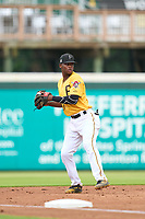 FCL Pirates Gold third baseman Norkis Marcos (13) throws to first base during a game against the FCL Rays on July 26, 2021 at LECOM Park in Bradenton, Florida. (Mike Janes/Four Seam Images)