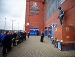 02.01.2020 Ibrox disaster memorial service: Rev Stuart MacQuarrie conducts the memorial service and John Greig places a wreath at the base of the statue to remember the fans in the Ibrox Disasters