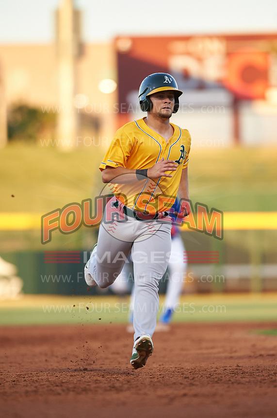 AZL Athletics Gold Shane Selman (13) runs to third base during an Arizona League game against the AZL Cubs 1 at Sloan Park on June 20, 2019 in Mesa, Arizona. AZL Athletics Gold defeated AZL Cubs 1 21-3. (Zachary Lucy/Four Seam Images)