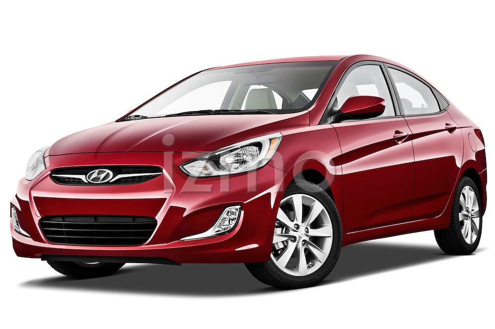 Low aggressive front three quarter view of a 2012 Hyundai Accent GLS Sedan .