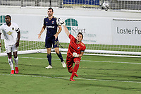 CARY, NC - AUGUST 01: Alex Tambakis #1 throws the ball during a game between Birmingham Legion FC and North Carolina FC at Sahlen's Stadium at WakeMed Soccer Park on August 01, 2020 in Cary, North Carolina.