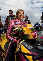 Oct. 31, 2008; Las Vegas, NV, USA: NHRA pro stock motorcycle rider Valerie Thompson during qualifying for the Las Vegas Nationals at The Strip in Las Vegas. Mandatory Credit: Mark J. Rebilas-
