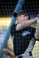 Aaron Hill of the Toronto Blue Jays during batting practice before a game from the 2007 season at Dodger Stadium in Los Angeles, California. (Larry Goren/Four Seam Images)