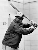Ready to go: Blue Jays' John Mayberry keeps his batting sharp with indoor workout yesterday at Exhibition Stadium in preparation for today's opener with Milwaukee Brewers. He's had a fast start this season with four hits, including four homers.<br /> <br /> Photo : Boris Spremo - Toronto Star archives - AQP