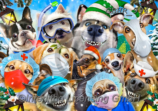 Howard, CHRISTMAS ANIMALS, WEIHNACHTEN TIERE, NAVIDAD ANIMALES,face masks,corona,selfies, paintings+++++,GBHR994,#xa#