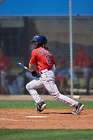 Boston Red Sox Jagger Rusconi (2) bats during a Minor League Spring Training game against the Tampa Bay Rays on March 25, 2019 at the Charlotte County Sports Complex in Port Charlotte, Florida.  (Mike Janes/Four Seam Images)