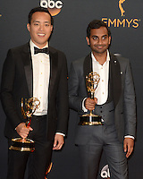 LOS ANGELES - SEP 18:  Alan Yang, Aziz Ansari at the 2016 Primetime Emmy Awards - Press Room at the Microsoft Theater on September 18, 2016 in Los Angeles, CA