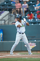 Jose Medina (15) of the Lynchburg Hillcats at bat against the Winston-Salem Dash at BB&T Ballpark on May 3, 2018 in Winston-Salem, North Carolina. The Dash defeated the Hillcats 5-3. (Brian Westerholt/Four Seam Images)
