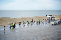 the leading (reduced) peloton races over the Brouwersdam with 20km to go<br /> <br /> stage 2: Utrecht - Neeltje Jans (166km)<br /> 2015 Tour de France