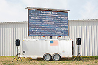 A screen displays prohibited items not allowed in to the secure area before the arrival of US President Donald Trump at a Make America Great Again Victory Rally in the final week before the Nov. 3 election at Pro Star Aviation in Londonderry, New Hampshire, on Sun., Oct. 25, 2020.