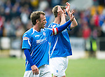 St Johnstone v Rangers....13.05.12   SPL.Jody Morris waves and Chris Millar applauds at full time, both players are likely to leave St Johnstone.Picture by Graeme Hart..Copyright Perthshire Picture Agency.Tel: 01738 623350  Mobile: 07990 594431
