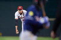 Altoona Curve relief pitcher Miguel Rosario (35) looks in for the sign during a game against the New Hampshire Fisher Cats on May 11, 2017 at Peoples Natural Gas Field in Altoona, Pennsylvania.  Altoona defeated New Hampshire 4-3.  (Mike Janes/Four Seam Images)