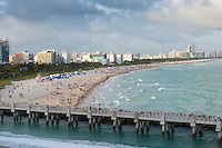 South Beach Miami with lifeguard station from cruising ship
