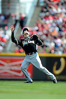 Miami Marlins shortstop Nick Green #22 during a game against the Cincinnati Reds at Great American Ball Park on April 20, 2013 in Cincinnati, Ohio.  Cincinnati defeated Miami 3-2 in 13 innings.  (Mike Janes/Four Seam Images)