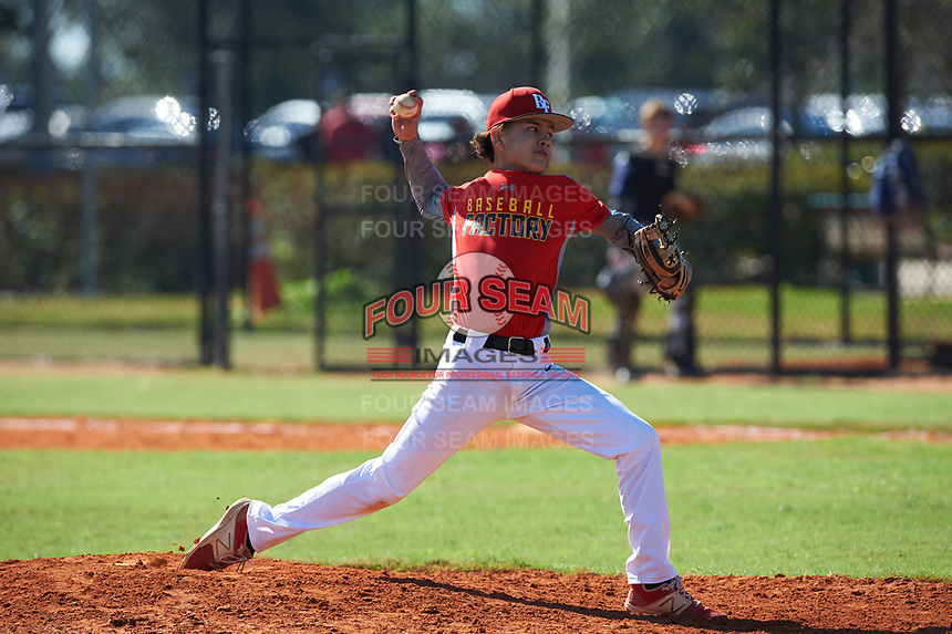 Ronald Benavidez (3) of Alice, Texas during the Baseball Factory All-America Pre-Season Rookie Tournament, powered by Under Armour, on January 14, 2018 at Lake Myrtle Sports Complex in Auburndale, Florida.  (Michael Johnson/Four Seam Images)