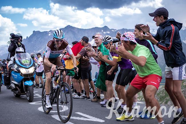 Romain Bardet (FRA/AG2R La Mondiale) up the Col du Galibier (HC/2622m/23km@5.1%)<br /> <br /> Stage 18: Embrun to Valloire (208km)<br /> 106th Tour de France 2019 (2.UWT)<br /> <br /> ©kramon