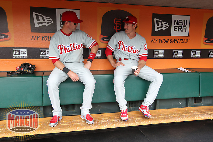 SAN FRANCISCO, CA - MAY 8:  Michael Young #10 and Chase Utley #26 of the Philadelphia Phillies get ready in the dugout before the game against the San Francisco Giants at AT&T Park on Wednesday, May 8, 2013 in San Francisco, California. Photo by Brad Mangin