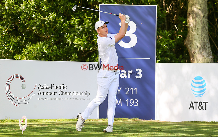 Nick Voke of New Zealand during the Asia Pacific Amateur Golf Championship Round Three, Royal Wellington Golf Course, Wellington, New Zealand, 28 October2017.  Photo: Simon Watts/www.bwmedia.co.nz