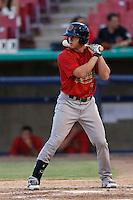 Evan Marzilli #7 of the Visalia Rawhide bats against the High Desert Mavericks at Stater Bros. Stadium on July 20, 2013 in Adelanto, California. High Desert defeated Visalia, 7-4. (Larry Goren/Four Seam Images)