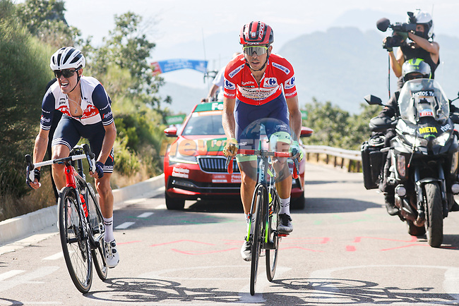 Juan Pedro Lopez Perez (Spa) Trek-Segafredo and race leader Odd Christian Eiking (NOR) Intermarché-Wanty-Gobert Matériaux near the finish of Stage 14 of La Vuelta d'Espana 2021, running 165.7km from Don Benito to Pico Villuercas, Spain. 28th August 2021.     <br /> Picture: Luis Angel Gomez/Photogomezsport   Cyclefile<br /> <br /> All photos usage must carry mandatory copyright credit (© Cyclefile   Luis Angel Gomez/Photogomezsport)