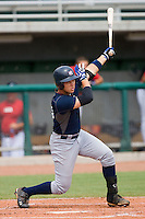 Dante Bichette Jr. #49 of Team Blue follows through on his swing against Team Red during the USA 18U National Team Trials at the USA Baseball National Training Center on July 1, 2010, in Cary, North Carolina.  Photo by Brian Westerholt / Four Seam Images