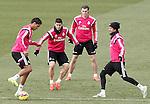 Real Madrid's Raphael Varane, James Rodriguez, Garet Bale and Fabio Coentrao during training session.January 30,2015.(ALTERPHOTOS/Acero)