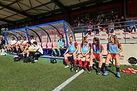 Standard  Staff and Standard players pictured before a women soccer match between Standard Femina de Liege and Eendracht Aalst dames, Saturday 25 September 2021 in Liege, in the 1/16 th final of the Belgian Womens Cup 2021-2022. PHOTO BERNARD GILLET