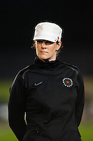 Portland Thorns head coach Cindy Parlow Cone. Sky Blue FC and the Portland Thorns played to a 0-0 tie during a National Women's Soccer League (NWSL) match at Yurcak Field in Piscataway, NJ, on June 22, 2013.