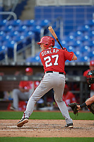 Washington Nationals catcher Alex Dunlap (27) at bat during a Florida Instructional League game against the Miami Marlins on September 26, 2018 at the Marlins Park in Miami, Florida.  (Mike Janes/Four Seam Images)